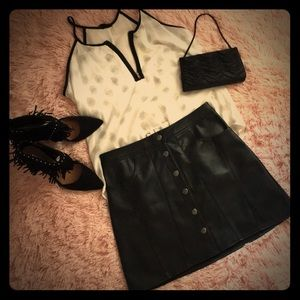 aA Line Vegan Leather Snap Up Mini Skirt